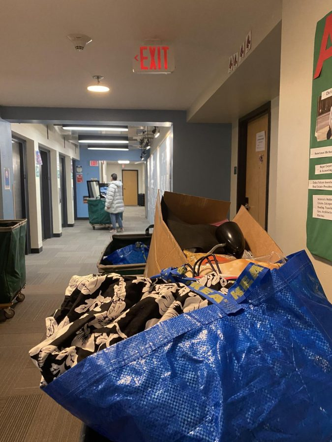 Stacks of stuff sat in the halls of Smith Hall as students moved out of the dorm  Sunday