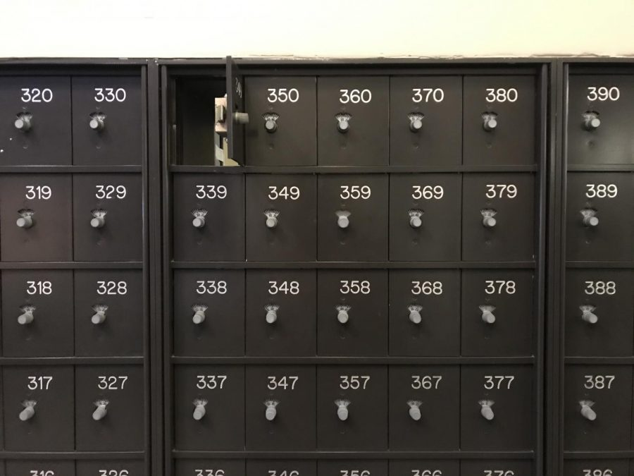 Mail boxes sat empty in 10 West as students moved out of the residence hall Sunday
