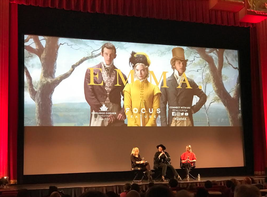 """After a screening of the newly released film, Boston Globe advice columnist Meredith Goldstein (left), """"Emma"""" director Autumn de Wilde (middle) and lead actress Anya Taylor-Joy (right) discussed the adaptation with an audience at the Coolidge Corner Theatre in Brookline"""