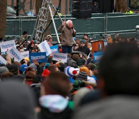 Democratic presidential candidate and Vermont Sen. Bernie Sanders gives a speech in the Boston Common Saturday ahead of Super Tuesday.