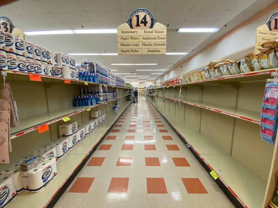 Customers bought up most paper goods at a Tewksbury Market Basket amid the coronavirus pandemic