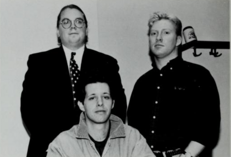 "<span class=""photocreditinline"">Courtesy of Moakley Archives & Institute</span><br /> The first official Gay and Lesbian Association at Suffolk (GALAS) executive board. Standing (left to right): Dave DeMarco and Leo McNiff. Sitting: Garrison Smith."