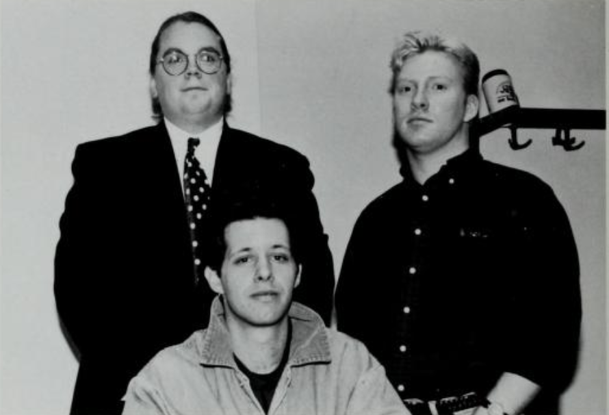 Courtesy of Moakley Archives & Institute The first official Gay and Lesbian Association at Suffolk (GALAS) executive board. Standing (left to right): Dave DeMarco and Leo McNiff. Sitting: Garrison Smith.