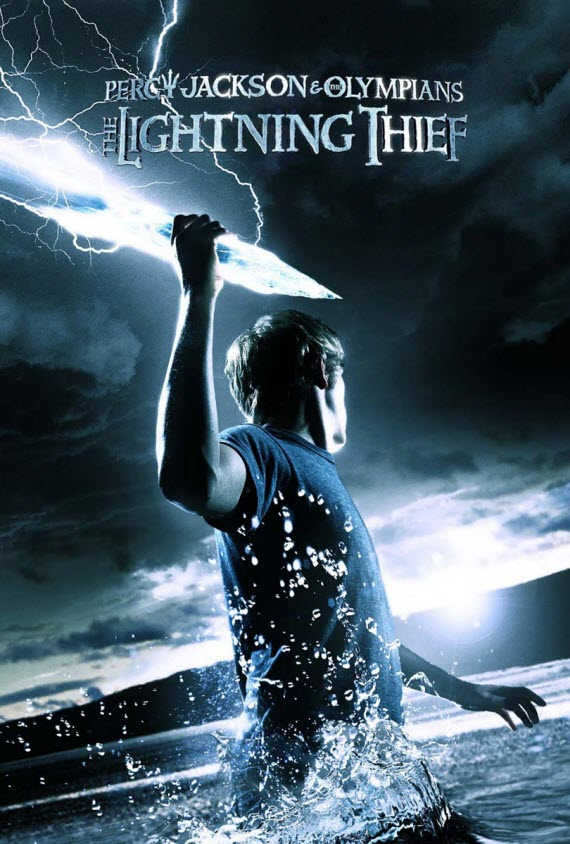 The movie poster for the 2010 film The Lightning Thief, based off of Riordans first Percy Jackson novel.