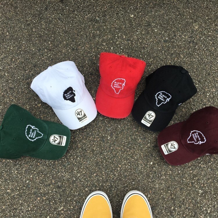 Hats sold by Boston lifestyle brand, Black Girl Magic Apparel.