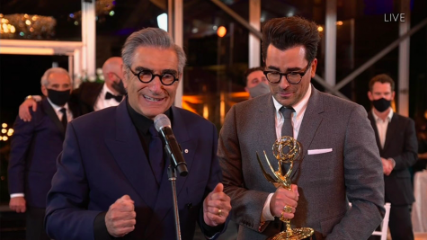 "Father-son duo Eugene Levy, left, and Dan Levy of ""Schitt"