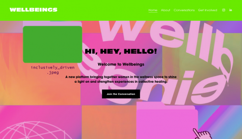 Wellbeings's colorful homepage.