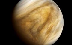 A close-up shot of planet Venus.