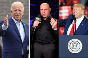 Joe Biden (from left), Joe Rogan and Donald Trump