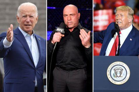 Joe Biden (from left), Joe Rogan and Donald Trump