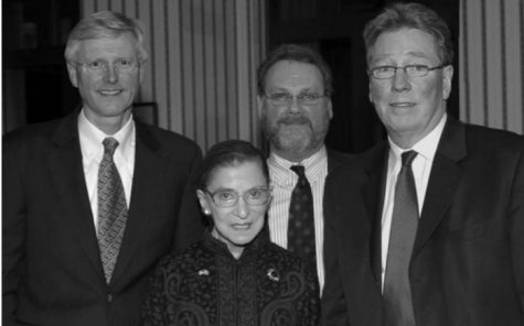 Supreme Court Justice Ruth Bader Ginsburg, with Suffolk University Dean Robert Smith, Professor Stephen Hicks and Kjell-Ake Modeer of the University of Lund, Sweden at a Suffolk Law School event in 2007.