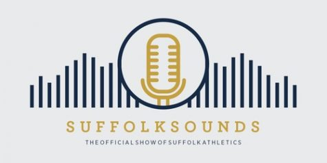 "The logo of the new Suffolk Athletics podcast, titled ""Suffolk Sounds"""
