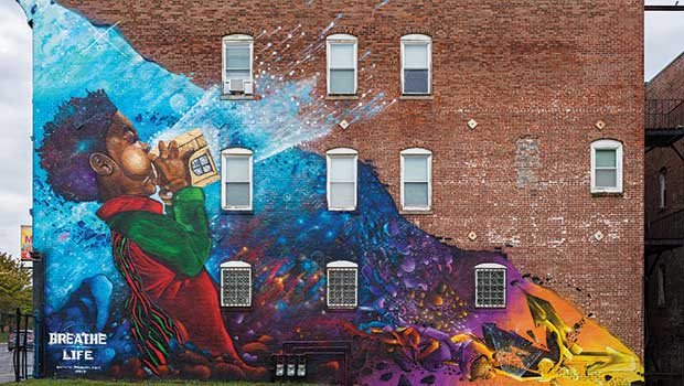 Breathe 1 mural on Blue Hill Ave. by Rob Problak Gibbs.