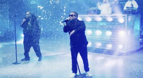 "Run the Jewels perform ""Walking in the Snow"" during their ""HolyCalamavote"" concert that was aired on Adult Swim."