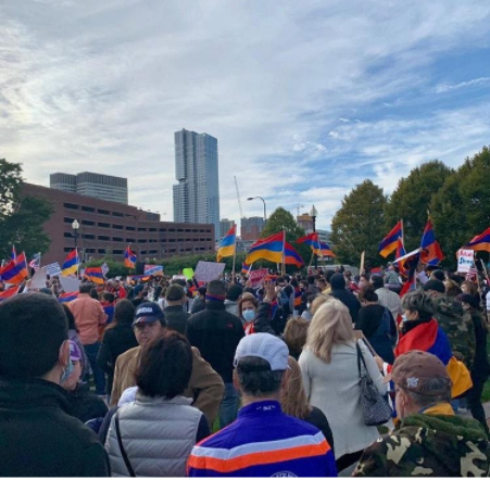 Protestors gather at Armenian Heritage Park in Boston