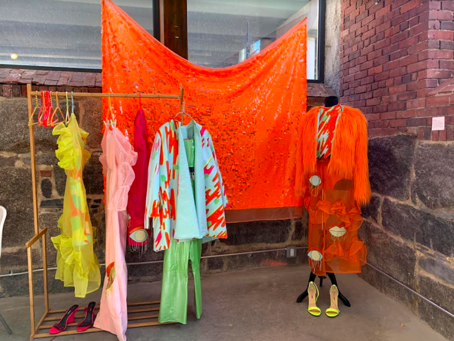 Colorful artwork created by Boston-based fashion designer Ella Tamagni (ellatamagnidesign) on display at the House of Venus exhibit.
