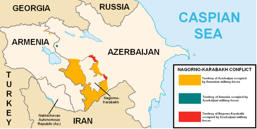 Map of the disputed region of Nagorno-Karabakh
