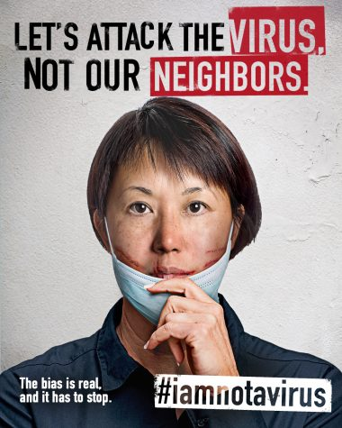 A poster for #IAMNOTAVIRUS, an organization that works to end racial discrimination and empower Asian American people, along with other communities.