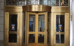 The main entrance to Suffolk University's Stahl Building at 73 Tremont St.