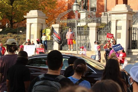 Pro-Trump protesters outside of the Massachusetts Statehouse. Photo via Will Woodring