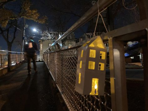 A lantern hung up on an overpass to spread awareness about the affordable housing crisis Somerville continues to face.