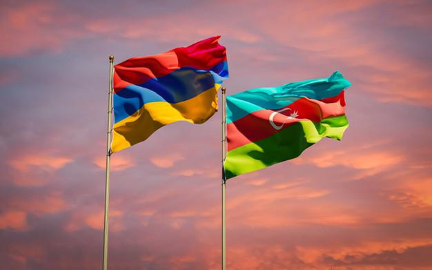 Flags of Armenia and Azerbaijan stand next to each other