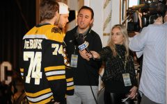 Eric Russo interviews Bruins players Jake Debrusk and David Pastrnak
