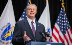 Charlie Baker at a press conference