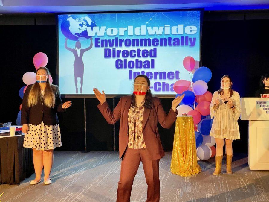 Suffolk students Annaliese Arnsten, Kasey Armstrong and Bridget Daggett perform in
