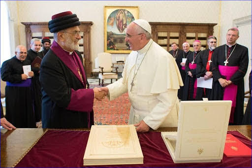 Pope Francis and Gewargis Sliwa II, the Patriarch of the Assyrian Church of the East