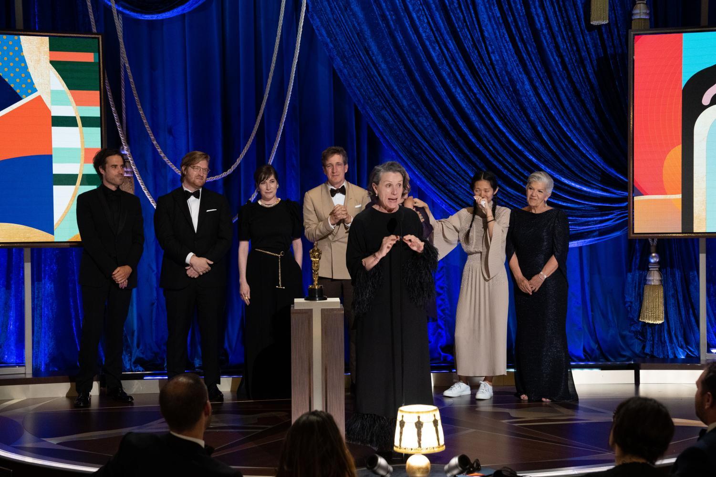 "Frances McDormand giving her speech after ""Nomadland"" won best picture."