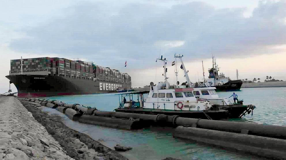 Egyptian tugboats help refloat the container ship Ever Given