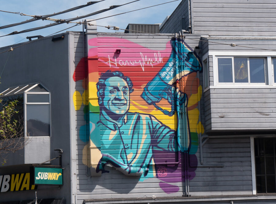 """""""Hope Will Never Be Silent,"""" a mural honoring Harvey Milk in San Francisco."""