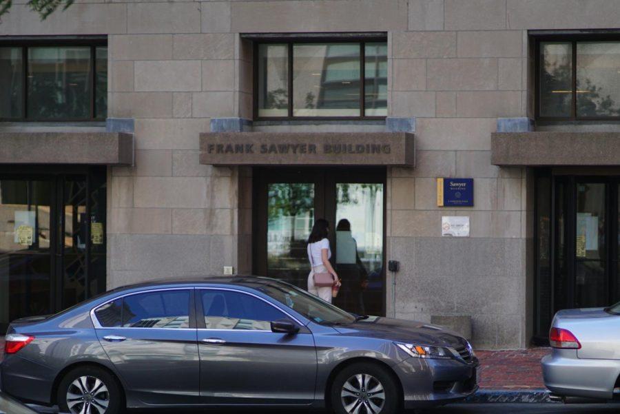 Student enters Sawyer building.