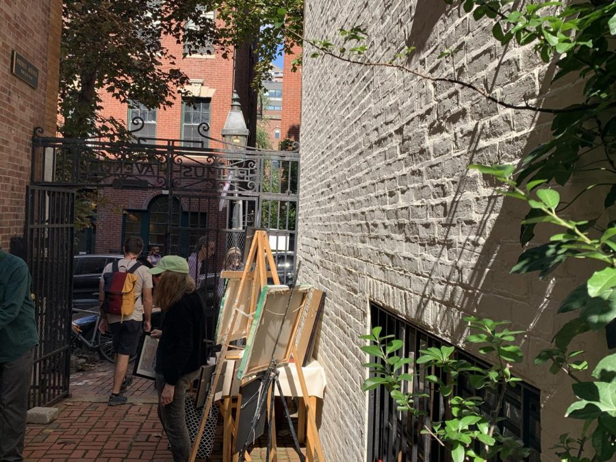 Art displayed in a residents garden as part of the Beacon Hill Art Walk on Sept. 26.