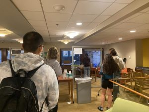 Students in line for the residential testing center at 10 West.