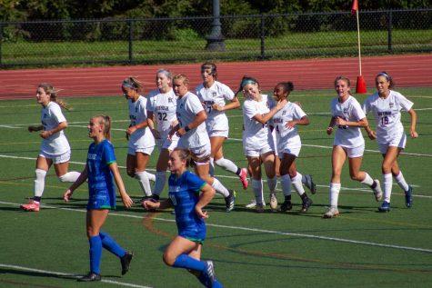 Suffolk Womens Soccer after scoring their lone goal against Salve Regina Saturday.
