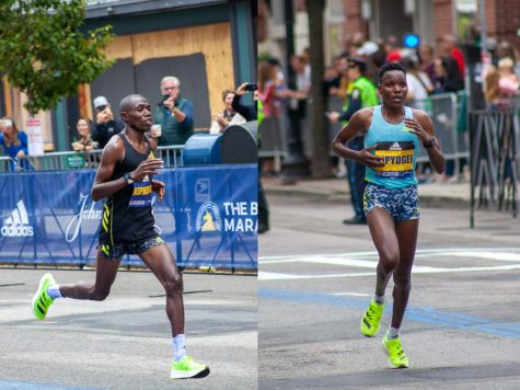 2021 Boston Marathon winners Benson Kipruto (left) and Diana Kipyogei (right) cross the finish line
