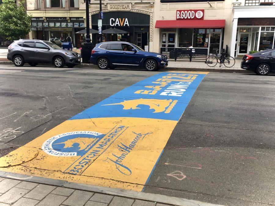 The finish line of the 125th Boston Marathon in Copley square.