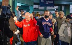 Red Sox fans celebrate the game 4 win over Tampa Bay monday night outside of Fenway Park