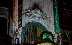 The Citizens Bank Opera House in Downtown Crossing sparkles with its Hadestown display.