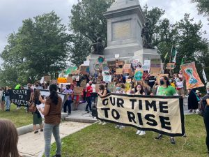 Hundreds of protestors gathered for the Sept. 24 climate march, ending at the Soldiers and Sailors monument in the Boston Common.