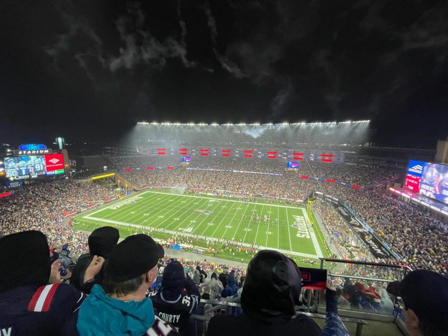The+view+from+the+upper+deck+of+Gillette+Stadium+for+the+Patriots+Sunday+night+loss+to+the+Buccaneers